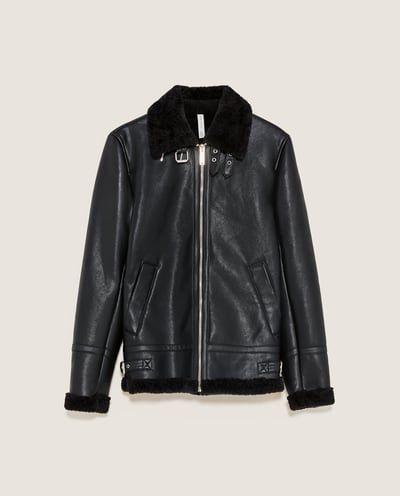 レザーテイストボンバージャケット-フェイクレザー-ブルゾン-メンズ-SALE   ZARA 日本