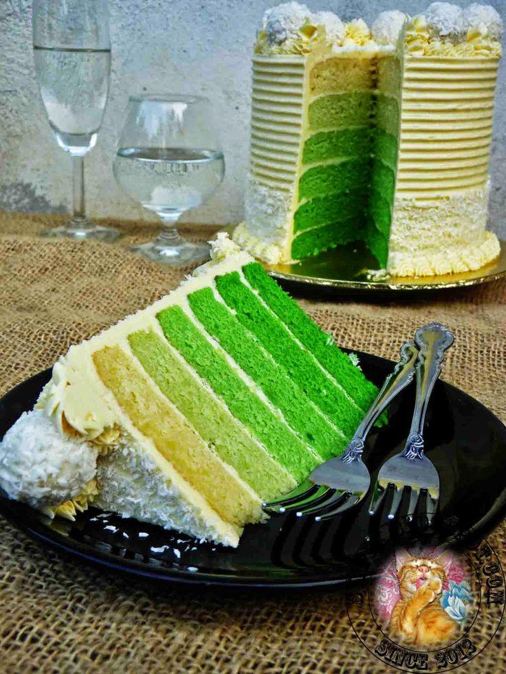 Syapex Kitchen Pandan Ombre Cake With Gula Melaka Swiss Meringue Makanan Dan Minuman Bolu Pandan Resep Masakan