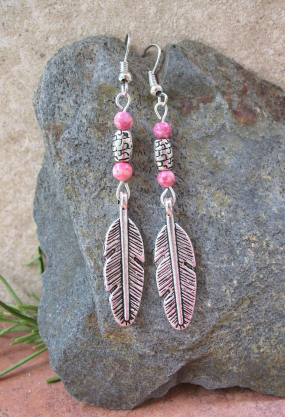 Tibetan Silver Feather Earrings by SweetMagnoliasShop on Etsy
