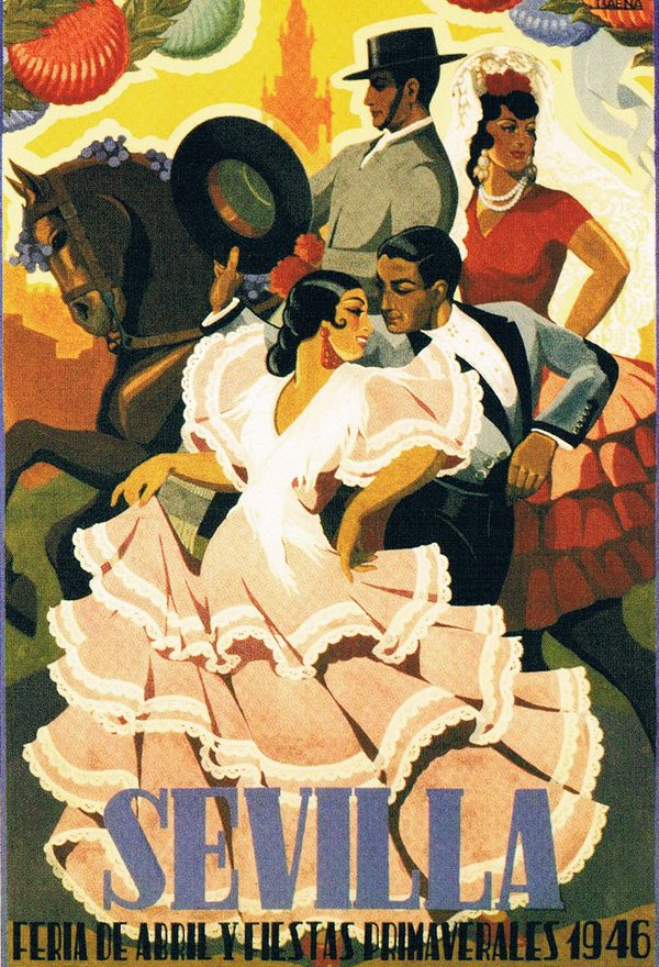 Sevilla, Andalucía, Spain. Vintage travelposter.  http://www.costatropicalevents.com/en/costa-tropical-events/andalusia/cities/seville.html