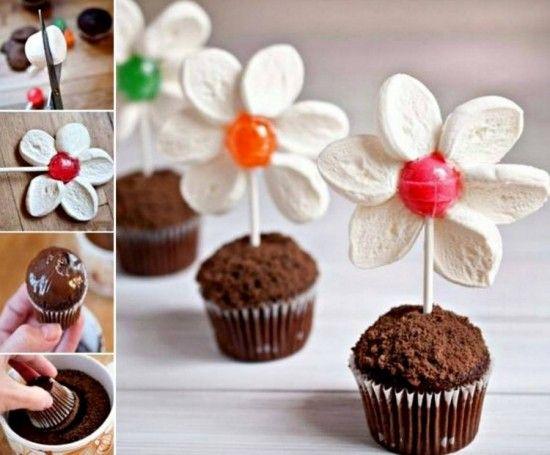 Marshmallow Lollipop Flower Pot Muffins