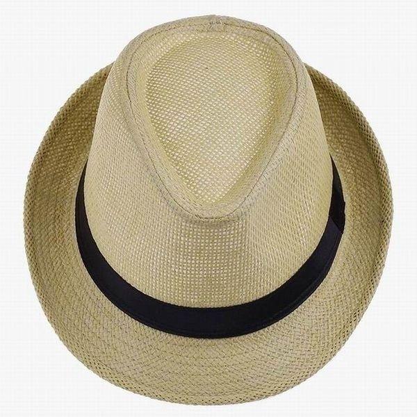 Frauen Männer Unisex Geflecht Fedora Trilby Gangster Sommer Strand Sonnenhut Sonnenstroh Panama Hut Paare Liebhaber Hüte Caps   – Modelos de crochê