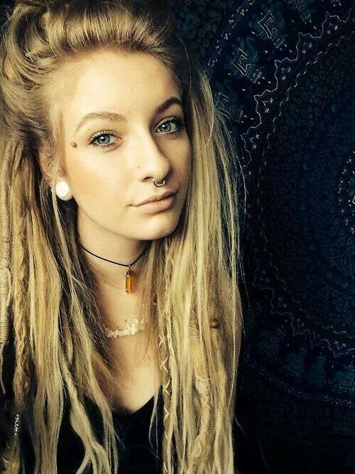 Blonde dreads with septum ring and ist exactly what I want                                                                                                                                                      More