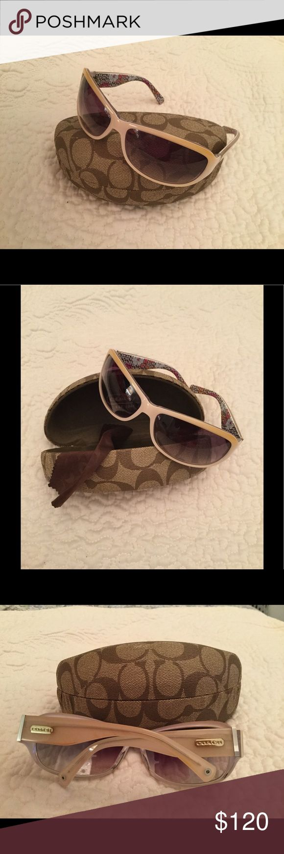 COACH SARAH S437 IVORY SUNGLASSES NWOT Brand new Coach Sarah S437 Ivory color with floral print inside arms. Never worn!!! No scratches. Comes with original Coach hard case and Coach cloth. NWOT Coach Accessories Sunglasses