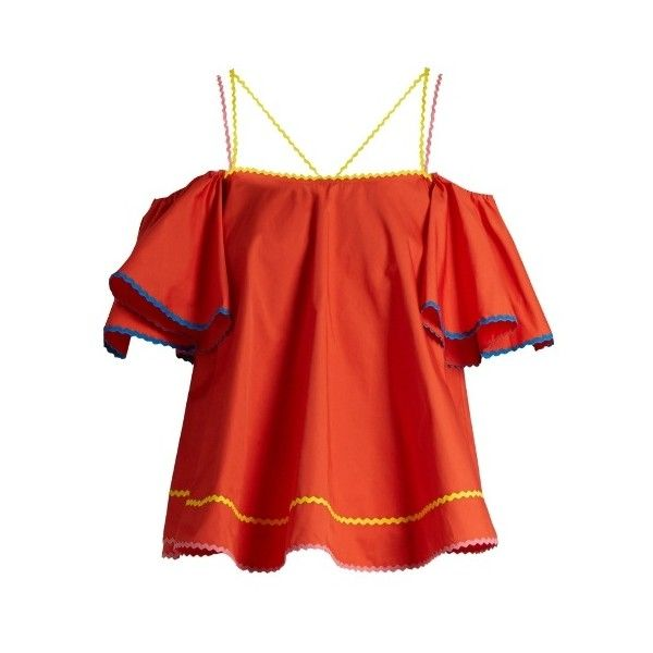 Anna October Ric-rac trimmed cotton-poplin top ($430) ❤ liked on Polyvore featuring tops, red, flounce tops, short sleeve ruffle top, short sleeve tops, red top and off shoulder short sleeve top