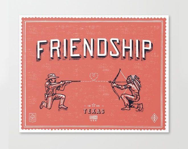 //: Graphic Design, Curtis Jinkins, Illustration, Art Prints, Texas, Friendship, State Motto, Indian, U.S. States