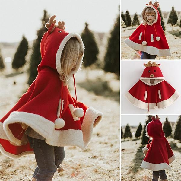 baby Girls Christmas cape hoodie outwear coat Outfit Santa