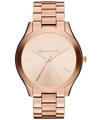 Michael Kors Watch, Women's Slim Runway Rose Gold-Tone Stainless Steel Bracelet 42mm MK3197 - Watches - Jewelry & Watches - Macy's