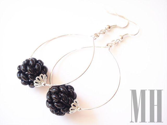 Kolczyki czarne z koralików Twins | MH Biżuteria - cuda ręcznie wykonane