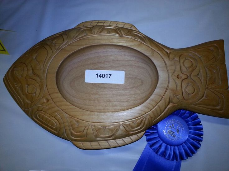 Beautiful Halibut Carved Dish Native Art Carving