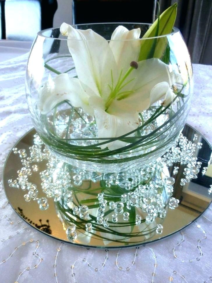 Dining Room Glass Bowl Centerpiece Fish Round Ideas Pertaining To