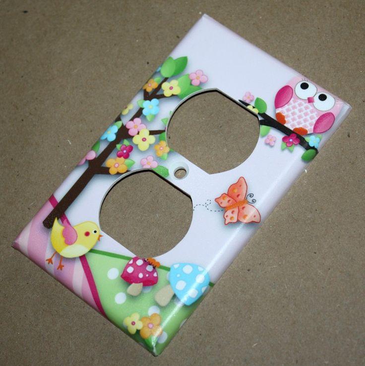 Owls Love Birdies Girls Bedroom Single Light Switch Cover. $7.00, via Etsy.
