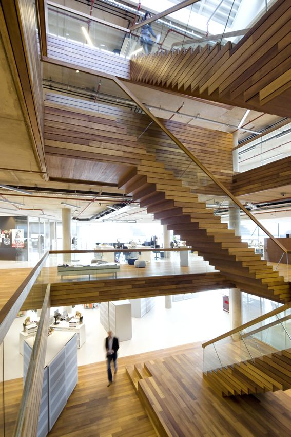 Wooden staircase. Office design.