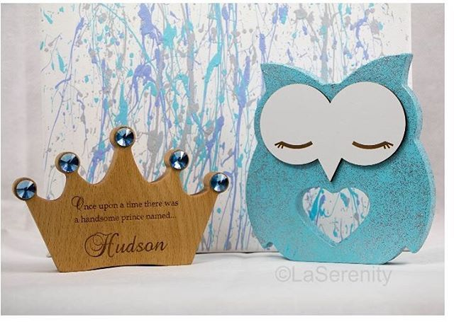 Twinkle the Owl  and our sweet solid wood crowns would make a great addition to any child's nursery or bedroom.  Owls has lots of colours to match decor. On the back is a white love heart engraved with the word LOVE. Custom made crowns are customised  and                                           available for little Prince and Princess with choice of  different coloured bling available.