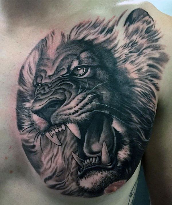 Realistic 3d mens lion roaring shaded chest tattoo for Lion chest tattoos