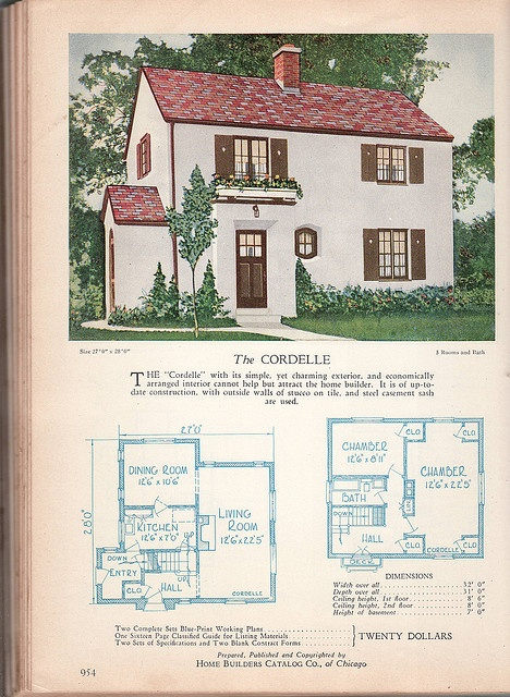 1928 Home Builders Catalog - The Cordelle.  This house looks like the officers' houses at Fort McClellan, AL.  The Fort was closed years ago and now the homes are occupied by civilians who paid a pretty penny for them.