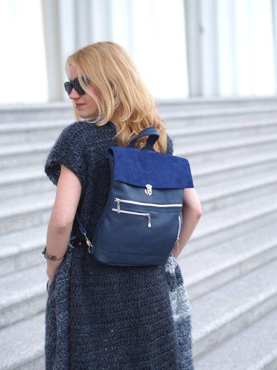 Blue leather Backpack Womens Rucksack Purse от MadamEliseeva
