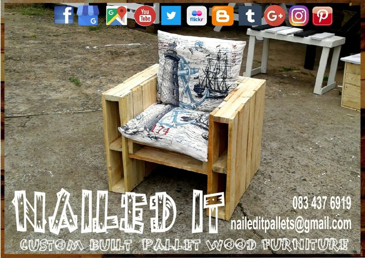 Pallet wood bench with armrest storage. Perfect for the patio or pool area. Indoor and outdoor use. Cushions for display purposes only. naileditpallets@gmail.com or 0834376919.  #palletbench #palletchair #palletpatiofurniture #palletoutdoorfurniture #naileditpalletfurniture #custompalletfurniture #palletfurniture #naileditcustompalletfurniture #palletfurnituredurban #custombuiltpalletfurniture