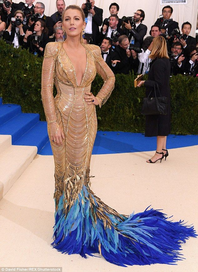 Glittering goddess: Blake Lively dazzled in opulent Atelier Versace at The Met Gala on Monday