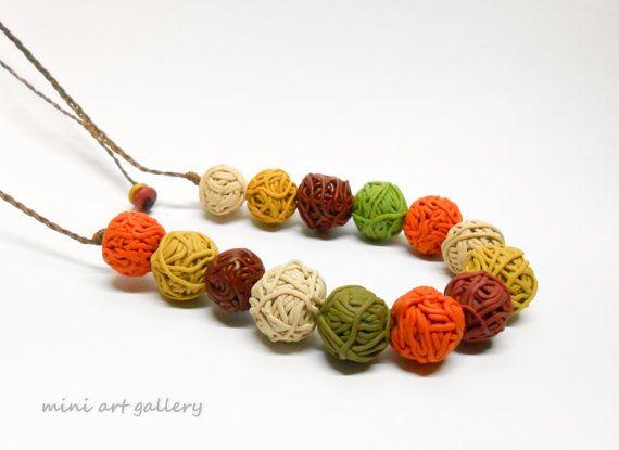 Yarn ball necklace / Minimalistic necklace / polymer clay ooak handmade beads / autumn fall colors / macrame braiding / adjustable length