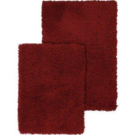 Mainstays Soft Nylon Shag Bath Rug Set, 2-Piece, Red