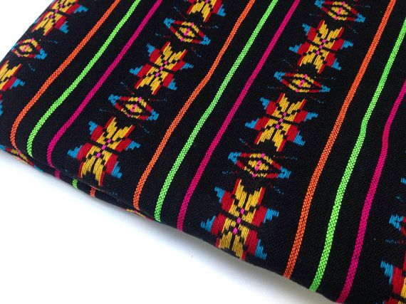 Black Aztec Fabric - 3 Yard Rebozo -Tribal pattern - Mexican cambaya by the yard - DIY Decor Doula Tools
