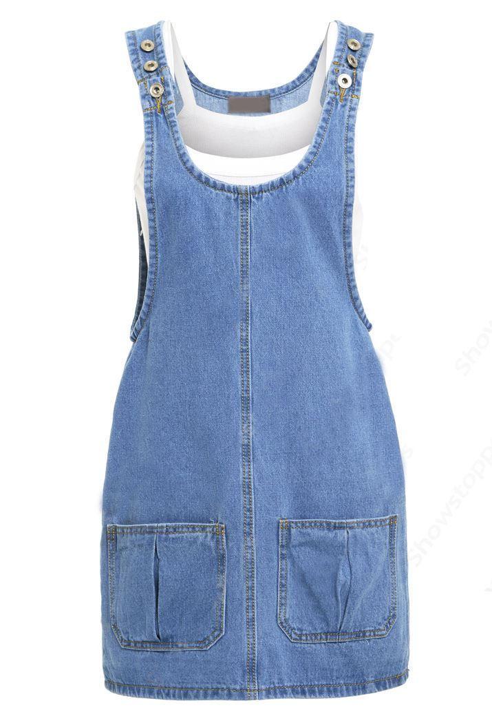 44d718da7b7 90's style denim jumper dress with adjustable shoulder straps ...