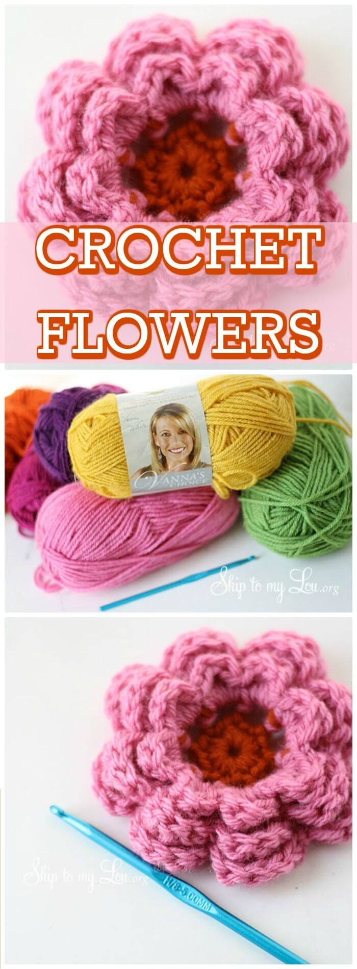 DIY Simple & Cute Crochet Flowers, Easy crochet flowers for beginners with free patterns! Easy and quick crochet flowers patterns with free guides!
