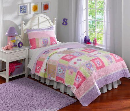 Pink Purple Green Owl Bedding Twin Full Queen Quilt Set For Girls Little Girl 39 S Bedding Sets