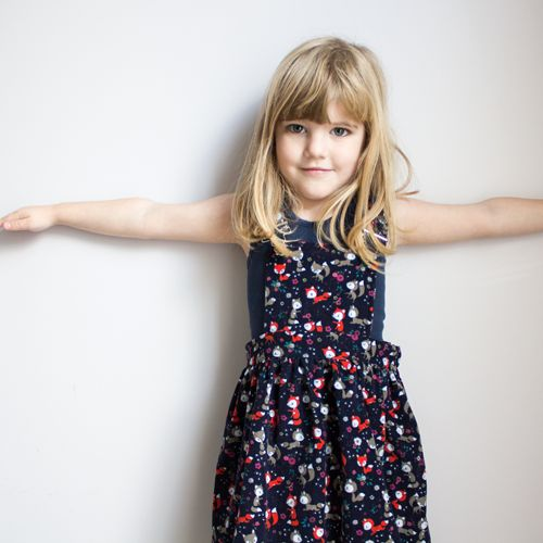 Fox print girls pinafore dress - by Ted and Toot (in store now)