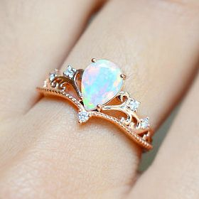 Pear Cut Opal Engagement Ring | MichelliaDesigns on Etsy