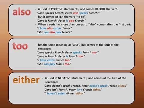 Forum | ________ English Grammar | Fluent LandALSO – TWO – EITHER | Fluent Land