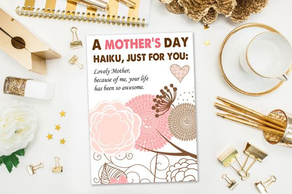 Instant Download / Mother's Day Cards / Funny Mother's Day Card / Haiku / Naughty Card, Your Life is Awesome Because of Me