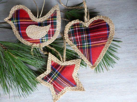 3 burlap christmas ornaments  Home Decor  by domekdecor on Etsy, $8.00