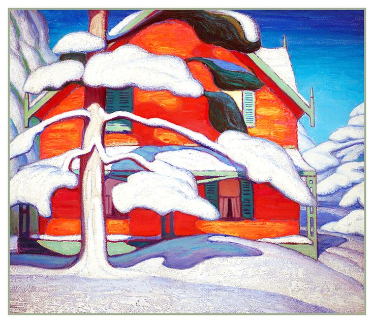 Lawren Harris's Tree and Red House Winter City Canada Landscape Counted Cross Stitch or Counted Needlepoint Pattern