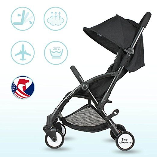 Amazon.com : Pink Deluxe Dual-Brake Single Baby Stroller, Portable Light Weight Travel Pram, Large Water Resistant Umbrella Canopy For Infant Toddler, Boys, Girls Unisex 3 Month, 1, 2 Year Old and UP : Baby
