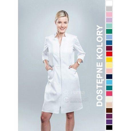 Dobrej jakości i wygodna odzież medyczna, to niezawodny atrybut każdego lekarza, pielęgniarki, czy farmaceutki. | Fartuch medyczny damski Hansa 0040. |