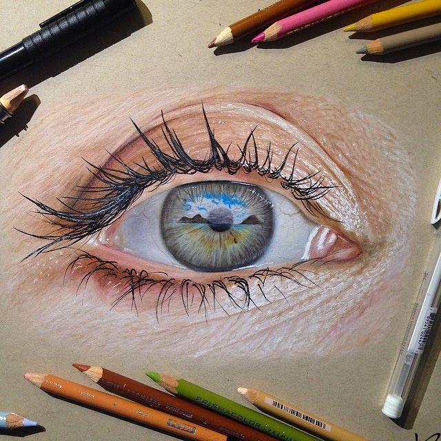 Ileana Hunter – When drawing both eyes, pay attention to the gaze. Shading is crucial, in order not to make eyes seem googly. - Mike Lopez – This drawing is a good example of light and dark shading and the expression it gives to the upward gazing eye.