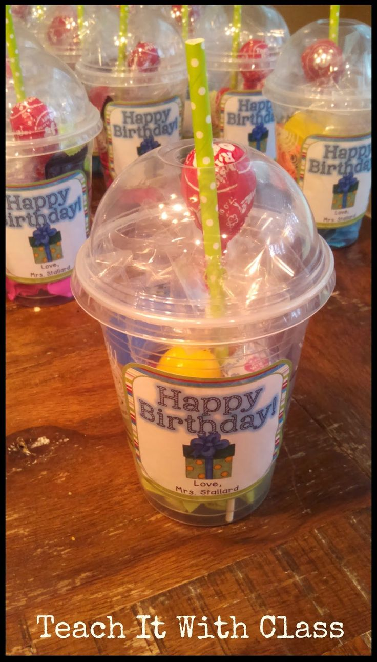 Grab and go birthday cup; treats with a pencil sticking out or crazy straw would be fun