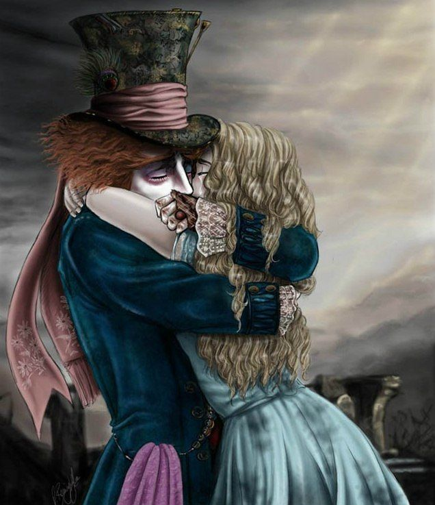 Hatter hugs Alice!!!It's so lovely!!!Why did she leave him???