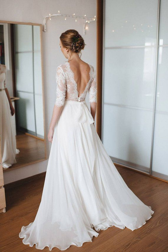A line wedding ceremony gown, A-line model, easy wedding ceremony gown, Easy model, romantic gown, Romantic bri