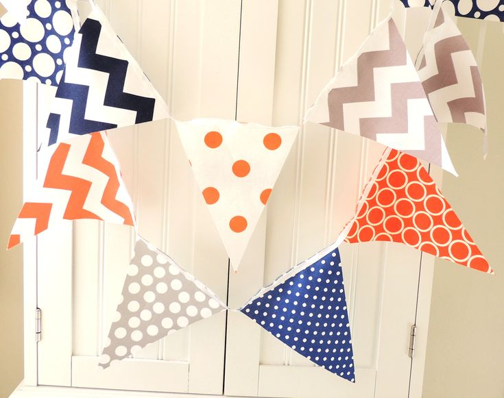 Banner bunting fabric pennant flags orange grey navy for Boy nursery fabric