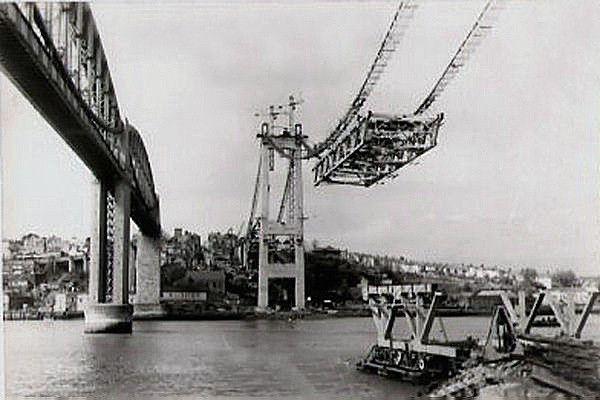 Building the Tamar Road Bridge. 1960's