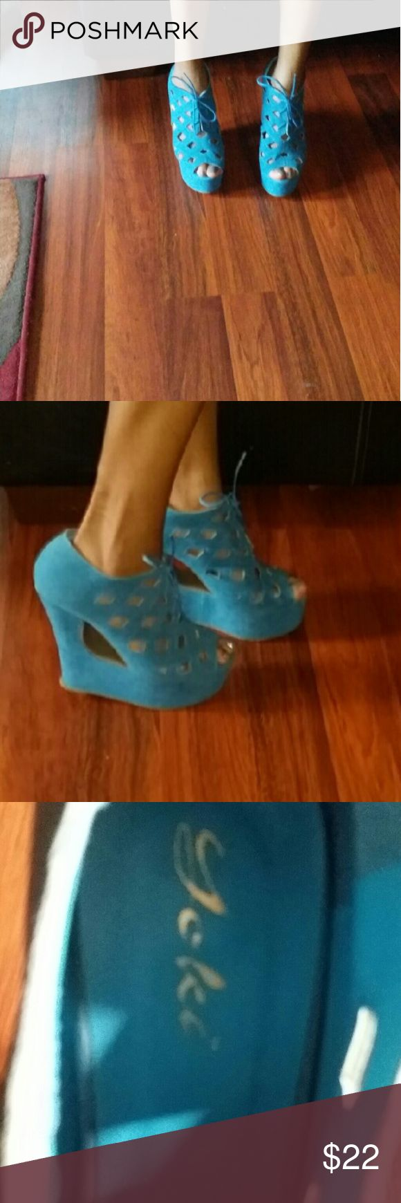 Shoes wedge pump never worn Cut out wedge pump blue Shoes Heels