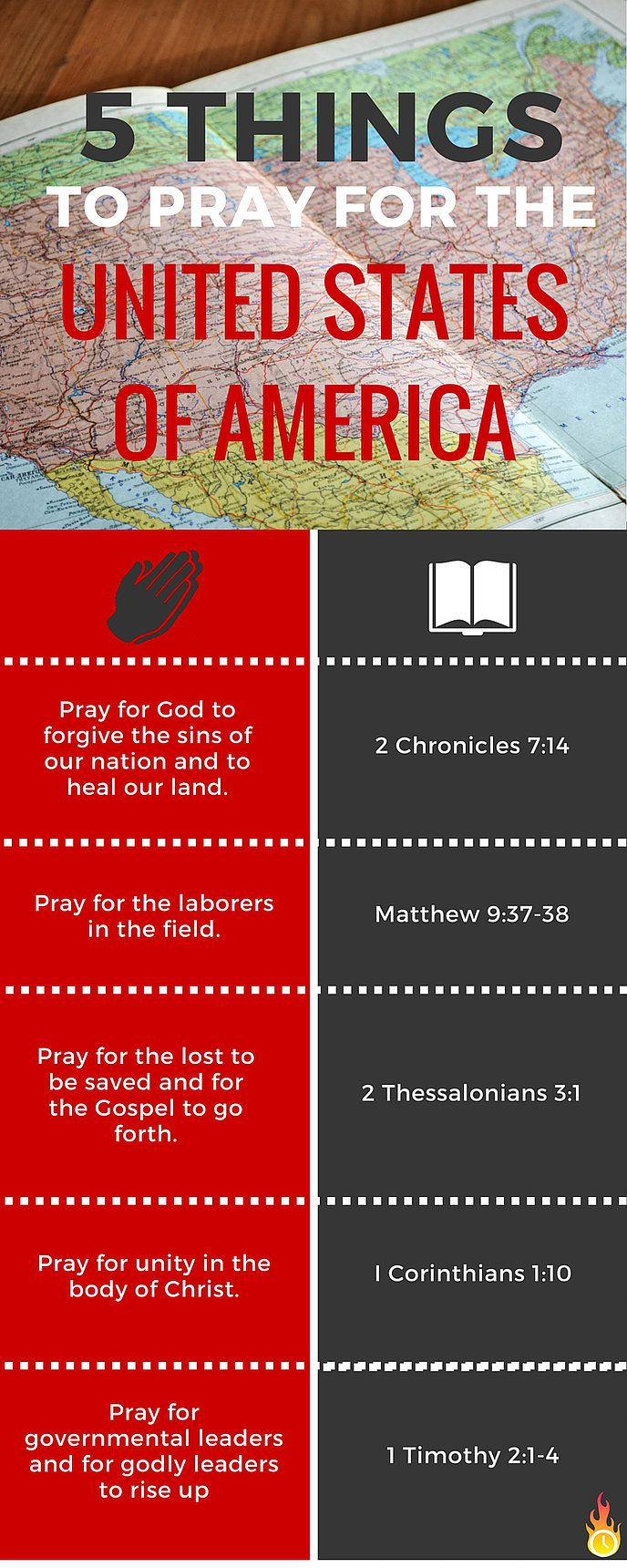 5 Things To Pray for America Infograph | Kairos International Ministries