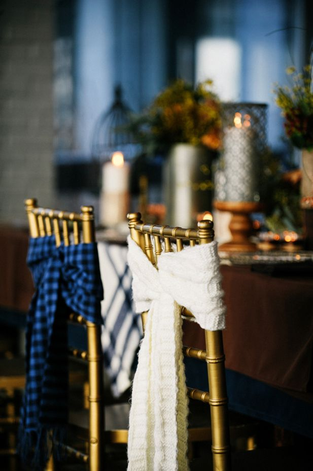 Plaid Scarves for the Bride & Groom's chairs