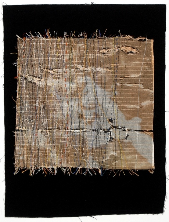 Beth Charles. Journey into Night series, 'Border crossing'. Machine and hand stitch on fabric