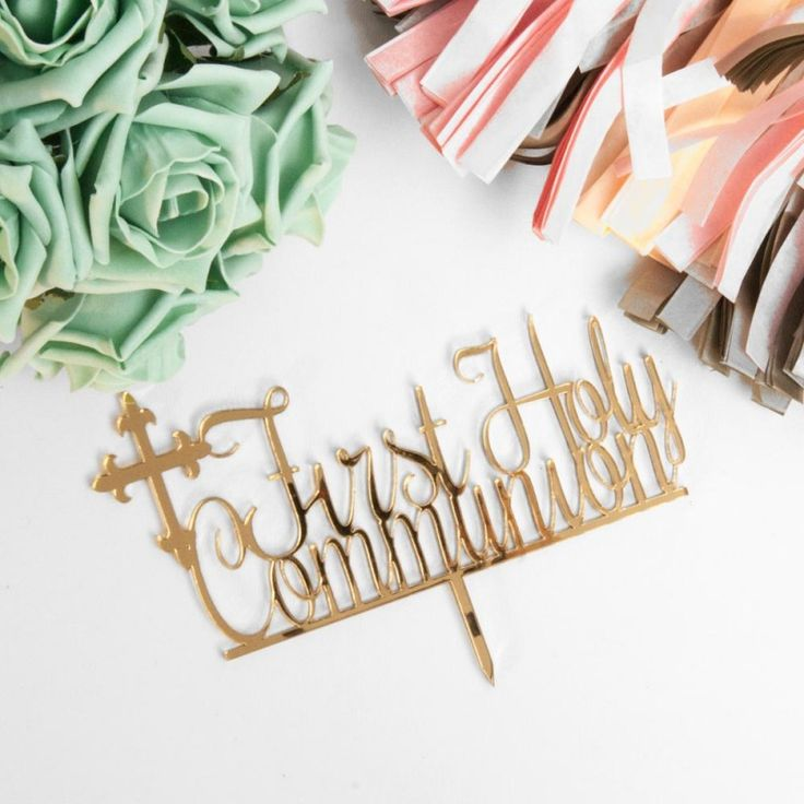 'First Holy Communion' Mirror Gold Cake Topper Cake Toppers