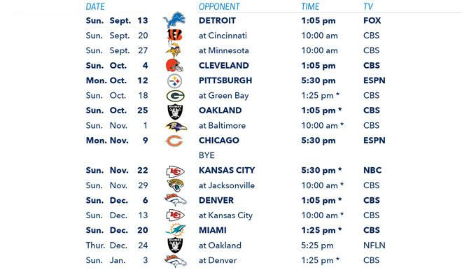 Chargers 2015 Schedule Announced   San Diego Chargers