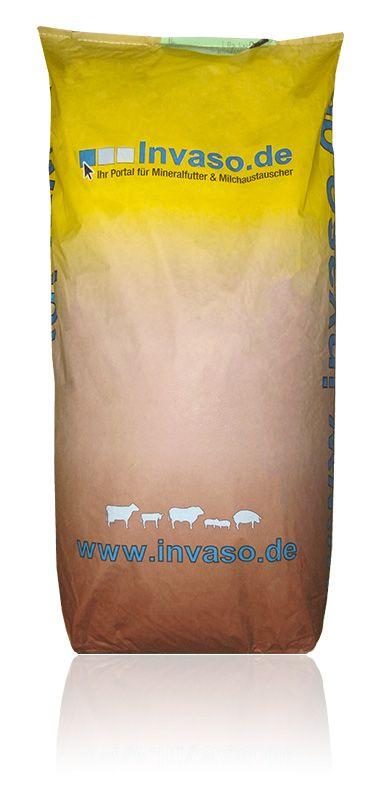 Invaso Kälber-Müsli, optimale Ergänzung zur Kälbertränke  ■ hochverdaulich, weil mehr als 50% aus aufgeschlossenem Getreide bestehen ■ proteinreich ■ gute Akzeptanz ■ fördert die Entwicklung der Verdauungsorgane